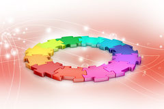 3d puzzle ring. In color background Stock Image