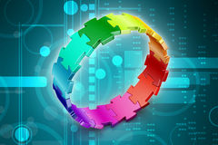 3d puzzle ring. In color background Royalty Free Stock Images