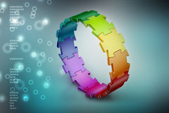 3d puzzle ring. In color background Royalty Free Stock Photos