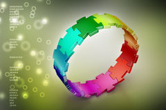 3d puzzle ring. In color background Royalty Free Stock Image