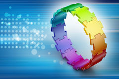 3d puzzle ring. In color background Stock Images