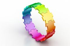 3d puzzle ring. In white background Royalty Free Stock Image
