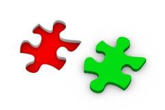 3d puzzle solution. 3d illustration of puzzle piece. Concept of problem solution, goal achievement, success Stock Photo