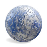 3D puzzle sphere with sky texture. Blue sphere with sky texture and puzzle pieces stock illustration