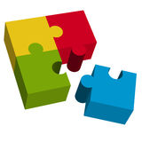 3D puzzle square with loose part. Colored puzzle pieces teamwork symbolism Stock Photos