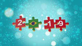 Puzzle to Brazil Flag for New Years 2019. 3D Puzzle to Flag for Happy New Years to 2019 royalty free illustration