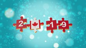 Puzzle to Canada Flag for New Years 2019. 3D Puzzle to Flag for Happy New Years to 2019 stock illustration