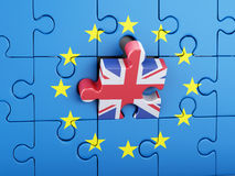 3d Puzzle with United Kingdom and European Union. Brexit. 3d renderer illustration. Puzzle with Great Britain and European Union flag. Brexit concept Stock Photo