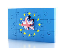 3d Puzzle with United Kingdom and European Union. Brexit Stock Photography