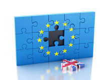 3d Puzzle with United Kingdom and European Union. Brexit Stock Photos