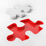 3d Puzzle on White Background, Red and White Puzzle, 3d Illustrated Stock Photography