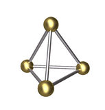 3D Pyramid gold ball and silver rod Royalty Free Stock Image