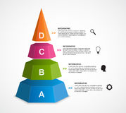 3D pyramid options infographics template. Vector illustration Royalty Free Stock Photo