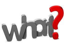 3D pytania słowo Co na białym tle Zdjęcie Royalty Free