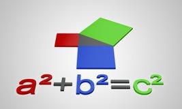 3D Pythagoras`s constant a²+b²=c². Colorful 3D Letters Pythagoras`s constant a²+b²=c Royalty Free Stock Photography