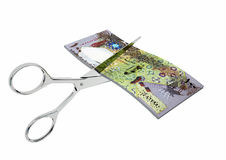 3D Qatari Currency with pairs of Scissors Royalty Free Stock Photography