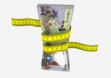 3D Qatari money with Measure tape Stock Photography