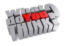 3d qué usted piensan la pregunta de la encuesta Fotos de archivo libres de regalías