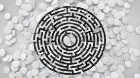 3D quadrieren die Fliesen, die auf den Boden mit Labyrinth-Symbol, 3D zerstreut werden Stock Abbildung