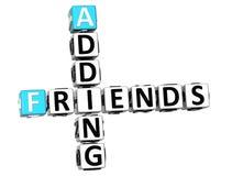 3D que adiciona palavras cruzadas dos amigos Fotografia de Stock