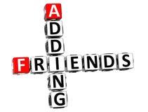 3D que adiciona palavras cruzadas dos amigos Foto de Stock