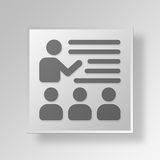 3D que aprende concepto del icono del botón Fotografía de archivo