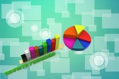 3d que aumenta o único gráfico de barra com ilustração da carta de torta Imagem de Stock