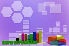 3d que aumenta o único gráfico de barra com ilustração da carta de torta Fotografia de Stock Royalty Free