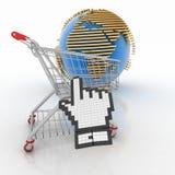 3d que hace compras en línea en Internet Fotos de archivo
