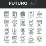 3D que imprime la línea iconos de Futuro fijados