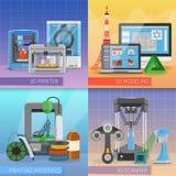 3D que imprime o conceito de projeto 2x2 ilustração royalty free