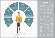 3D que imprime o molde e elementos infographic Fotografia de Stock