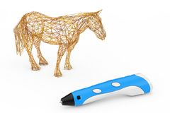 3d que imprime Pen Print Abstract Horse rendição 3d Fotos de Stock Royalty Free