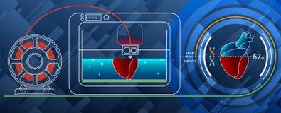 3D que imprime un corazón humano en una impresora 3D para la DNA Imagenes de archivo