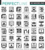 3d que modela e que imprime mini símbolos pretos do conceito Ilustrações modernas do vetor do pictograma do ícone do vetor ajusta ilustração royalty free