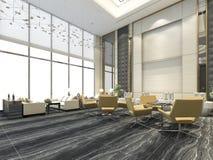 3d que rende a cadeira amarela na sala de estar e na recepção do hotel de luxo Fotos de Stock Royalty Free