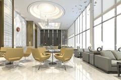 3d que rende a cadeira amarela na sala de estar e na recepção do hotel de luxo Imagens de Stock