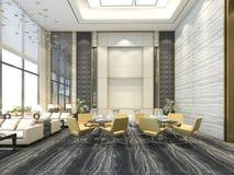 3d que rende a cadeira amarela na sala de estar e na recepção do hotel de luxo Fotografia de Stock Royalty Free