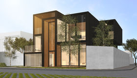3d que rende a casa moderna preta Imagens de Stock Royalty Free