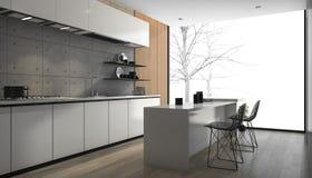 3d que rende a cozinha moderna branca com o assoalho de madeira perto da janela imagens de stock