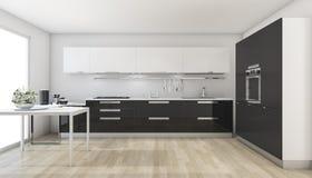3d que rende a cozinha preta moderna perto da janela Fotos de Stock