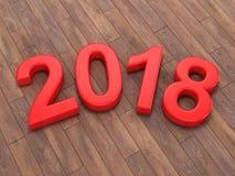 3D que rende 2018 dígitos do vermelho do ano novo Foto de Stock Royalty Free