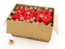 3D que rende 2018 dígitos do vermelho do ano novo Imagens de Stock