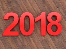 3D que rende 2018 dígitos do vermelho do ano novo Fotografia de Stock Royalty Free