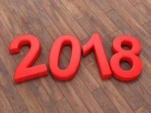 3D que rende 2018 dígitos do vermelho do ano novo Fotos de Stock Royalty Free