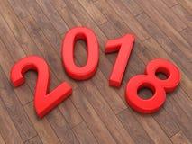 3D que rende 2018 dígitos do vermelho do ano novo Fotografia de Stock