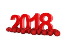 3D que rende 2018 dígitos do vermelho do ano novo Imagens de Stock Royalty Free