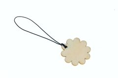 3D que rende a etiqueta de madeira no formulário da flor Imagens de Stock