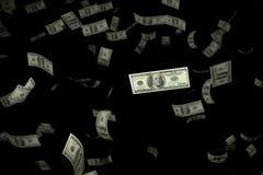 3D que rende a grande quantidade de floa do voo da cédula de USD do dinheiro 100 Imagem de Stock