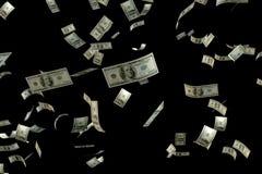 3D que rende a grande quantidade de floa do voo da cédula de USD do dinheiro 100 Fotos de Stock